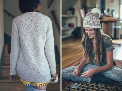 Latte Pullover by Sarah Solomon, and Macaroon Hat by Amy Palmer