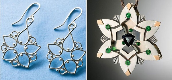 Argentium Filigree Earrings by Elizabeth Porter and Gemstone and Metal Pendant by Andy Lucas