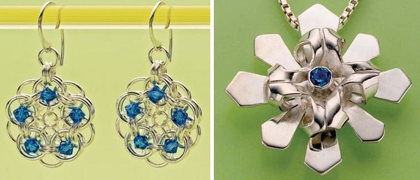 Chain Maille Earrings by Lauren Anderson and Metal Snowflake Pendant by Debra Hoffmaster
