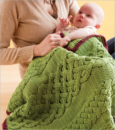 This crochet cable baby blanket is inspired by Irish crochet.
