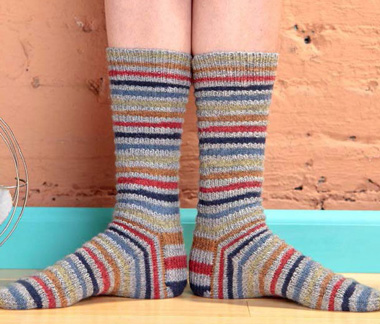 Speed Bump knitted sock pattern.