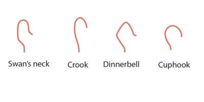 From left, Swan's Neck, Shepherd's Crook, Dinner Bell, Cup Hook