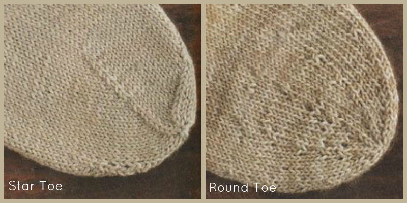 Star Toe and Round Toe Customization Directions for knitting socks from Folk Socks by Nancy Bush.