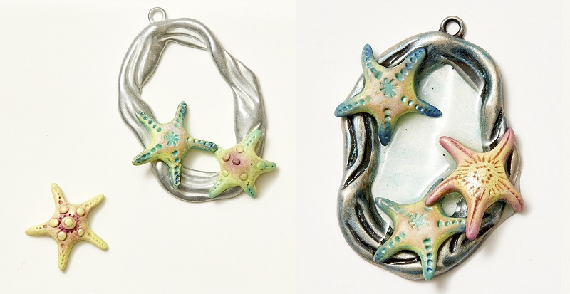 """mixed media polymer clay by Christi Friesen with resin as """"water"""""""