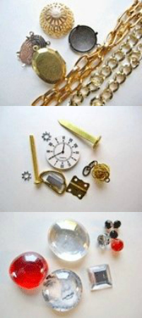 Various items you can used for steampunk jewelry making!
