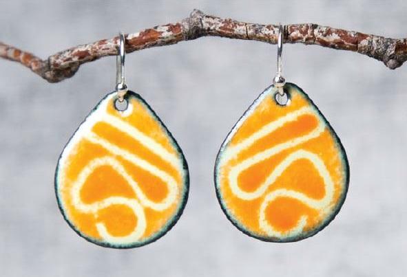 stenciled enamel earrings by Pauline Warg