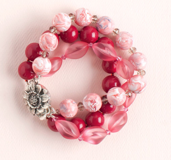 Strawberries and Cream by Marilyn Koponen, 10 Favorite Pink Jewelry Projects, mixed media jewelry, beadweaving, beading, tassels