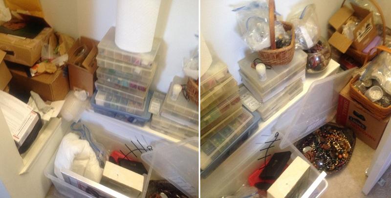 jewelry supplies: stash organization before