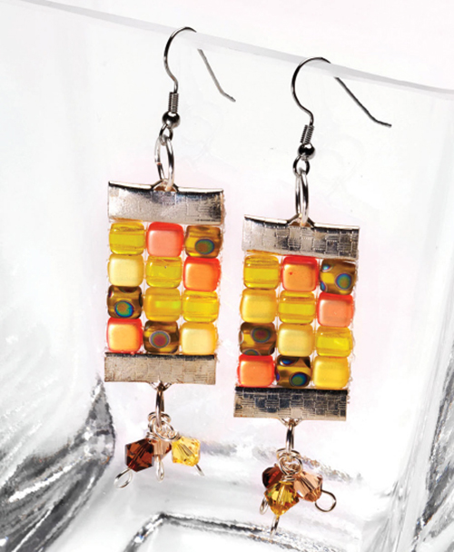"""Sunshine Sparkle"" earrings, by Julianna Avelar from Jewel Loom Inspirations"