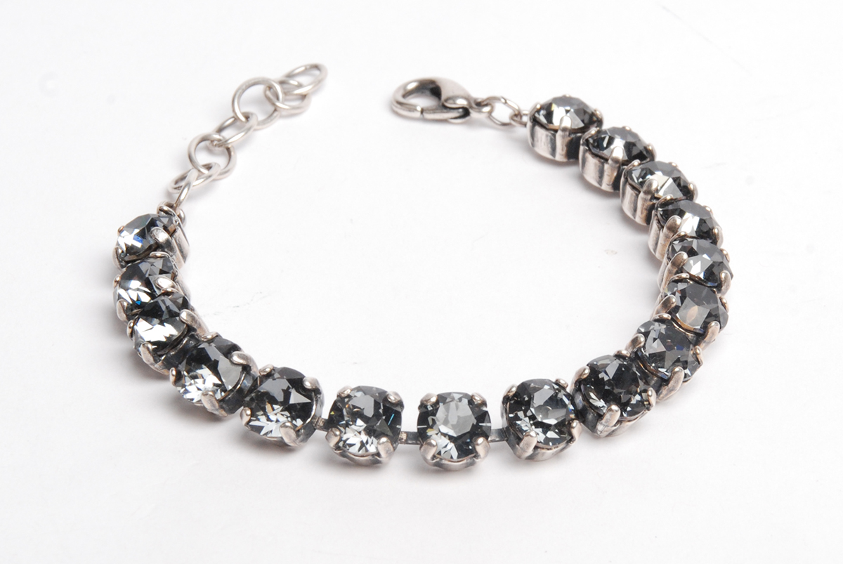 Swarovski crystal and chaton cup-chain bracelet; silver oxide cup-chain; crystal silver night chatons