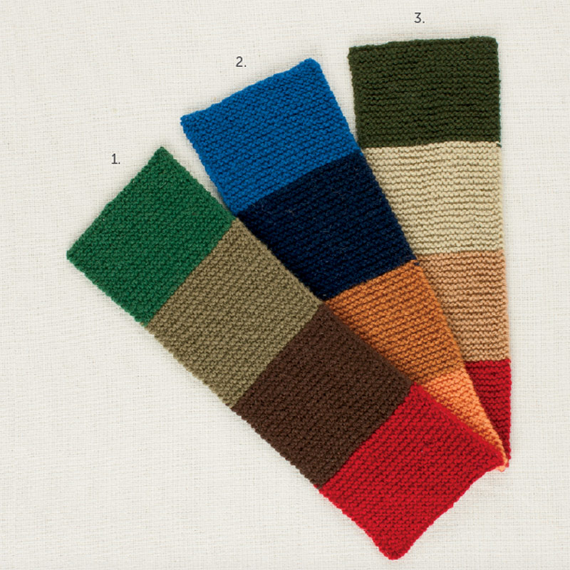 The three swatches above play with creative ways of interpreting complements.