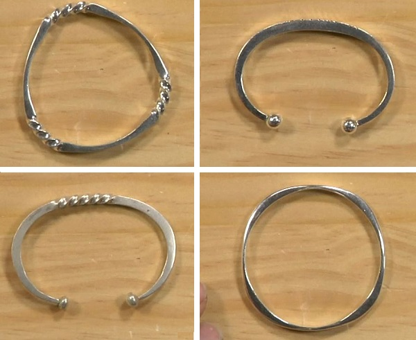 Richard Sweetman fast forged silver cuffs and bangle bracelets
