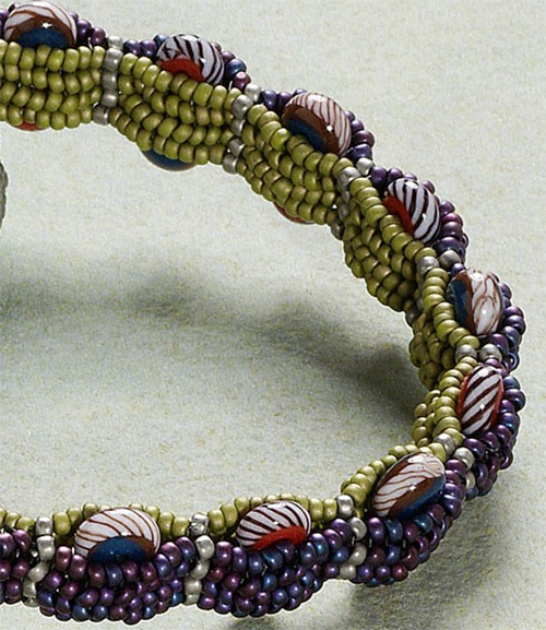 Tambourine Bangle; sideview of purple/green colorway