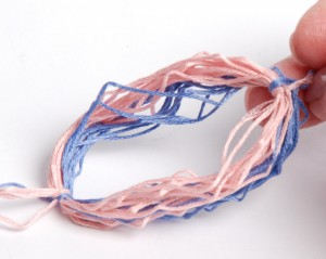 Wrapped cording bundle, removed from the tassel maker.