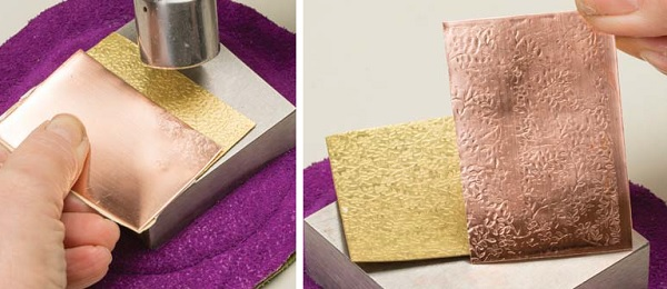 how to texture metal with brass texture plates and a hammer