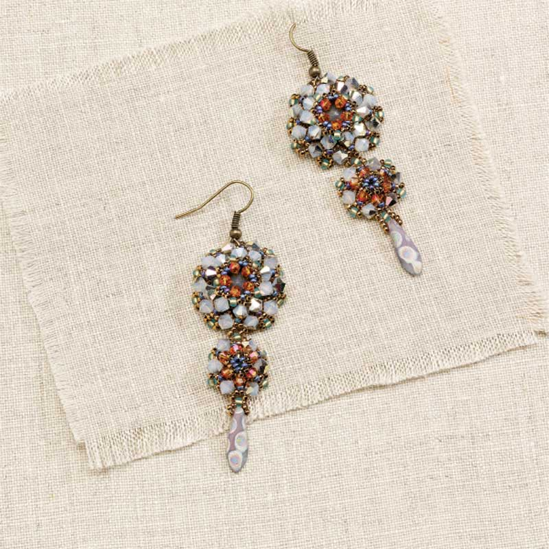 Handmade Crystal Jewelry, Thistle Flower Earrings by Melissa Grakowsky Shippee