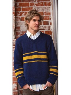 This easy knitted men's pullover features a V-neck, drop shoulders, and striping pattern.