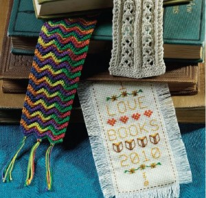 Cross-stitch and crochet bookmarks.