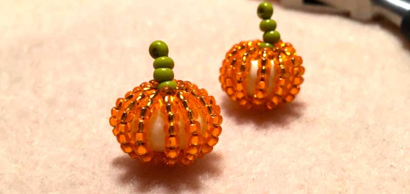 tiny beaded pumpkins