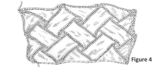 Learn how to finish your knitting entrelac blocks in this figure-by-figure knitting tutorial by Eunny Jang. This is figure 4, the first finishing method involving the top triangles.