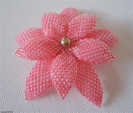 Miyuki delica and seed beaded flower - Interweave