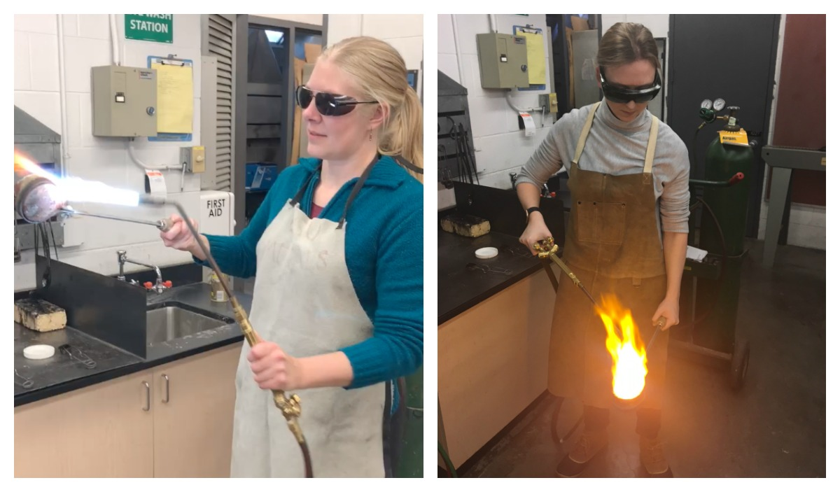 Left: I preheat the crucible before adding metal. Right: Hollie focuses the flame on the bronze casting grain we purchased for our water casting experience at Colorado State University's metalsmithing studio.
