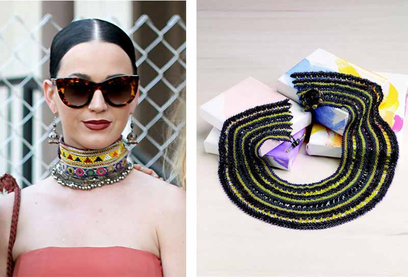 Jewelry Trends Report and Free Beaded Choker Necklace Projects. A colorful, tribal-inspired choker or collar is always a fun, bold choice. If Katy Perry can do it, so can you!