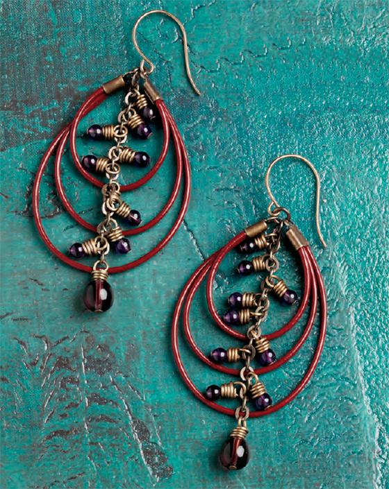 Triple Loops Earrings, by Erin Siegel. Leather cording, cord ends, adhesive, chain, beaded dangles, earwires