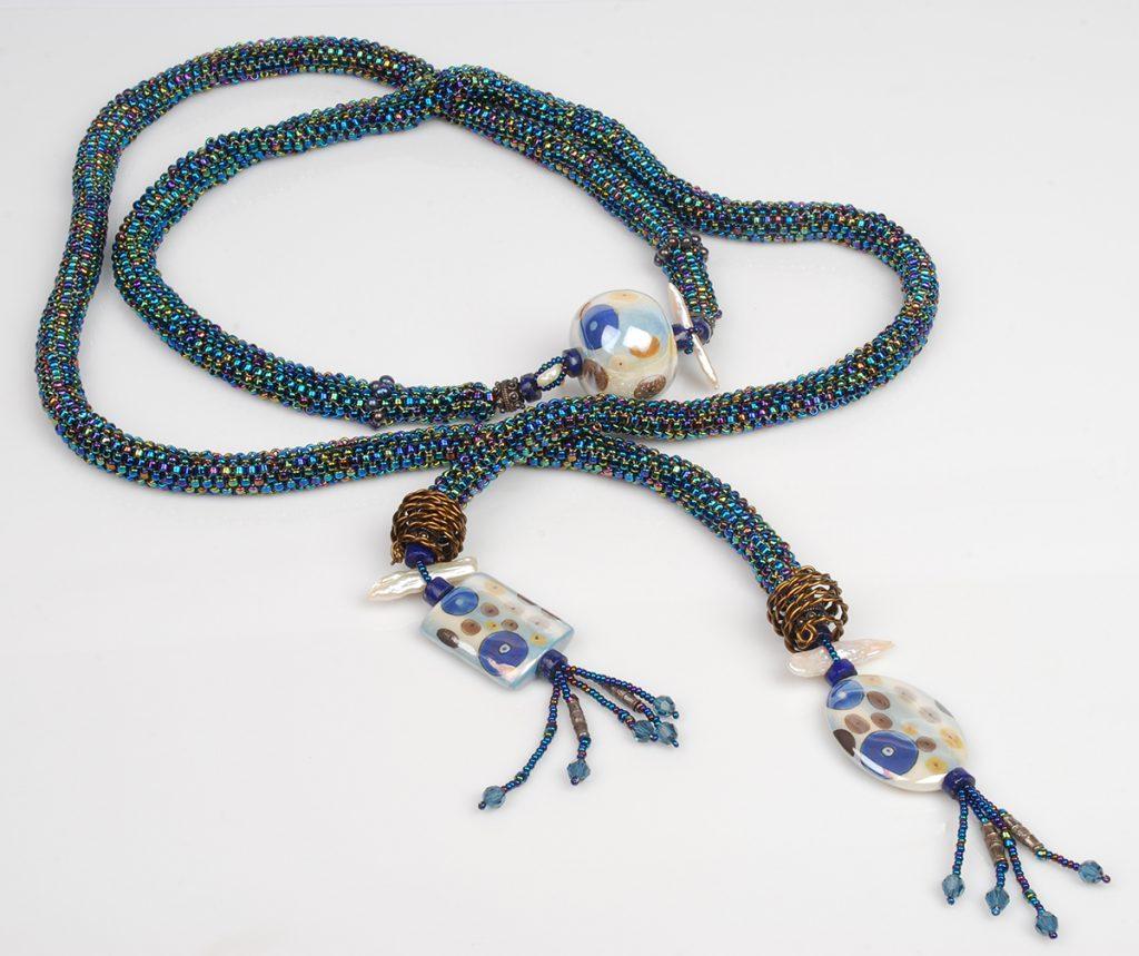 beaded ropes, tubular peyote, handmade painted porcelain beads