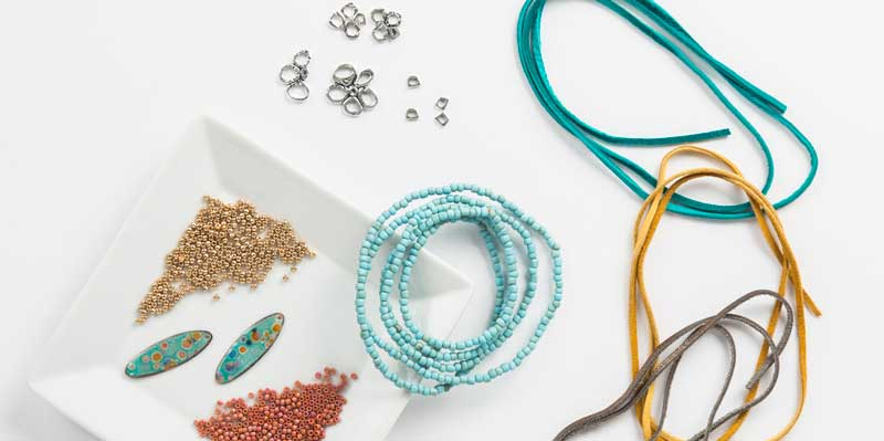 beads, leather cord, and other jewelry making supplies