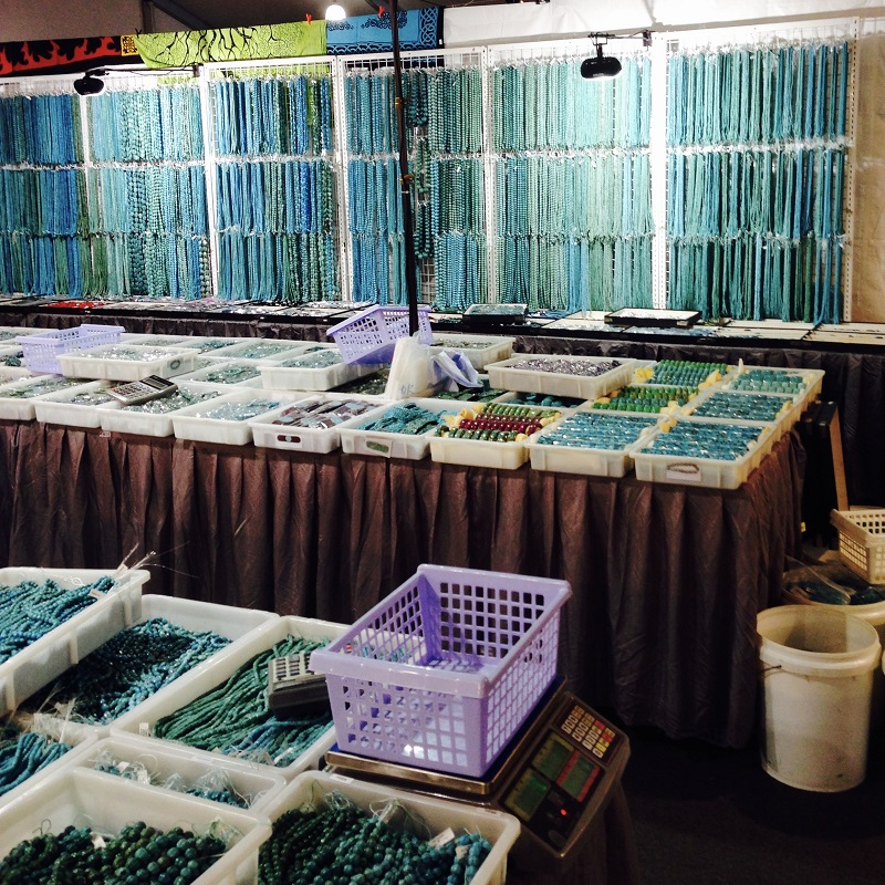 turquoise beads, cabs, and jewelry at the Tucson gem shows