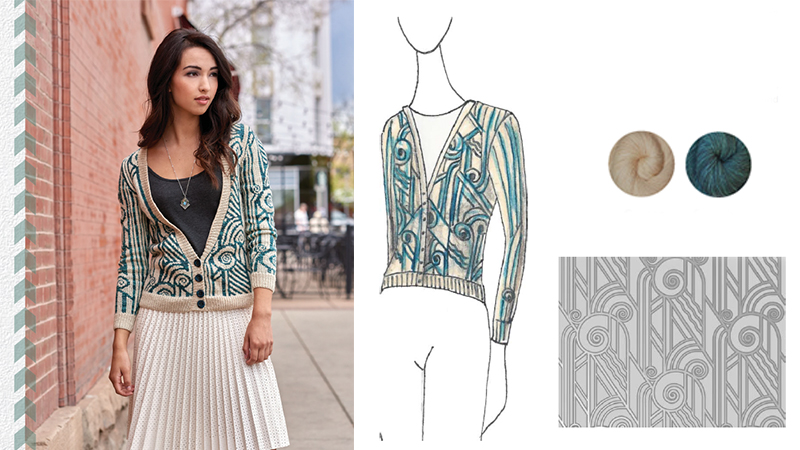 Urban Knit Collection: Womens Colorwork Knitted Cardigan Pattern