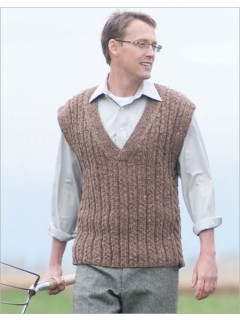 Rustic, casual, or refined, the cables and textured rib stitch will make this classic vest a favorite.