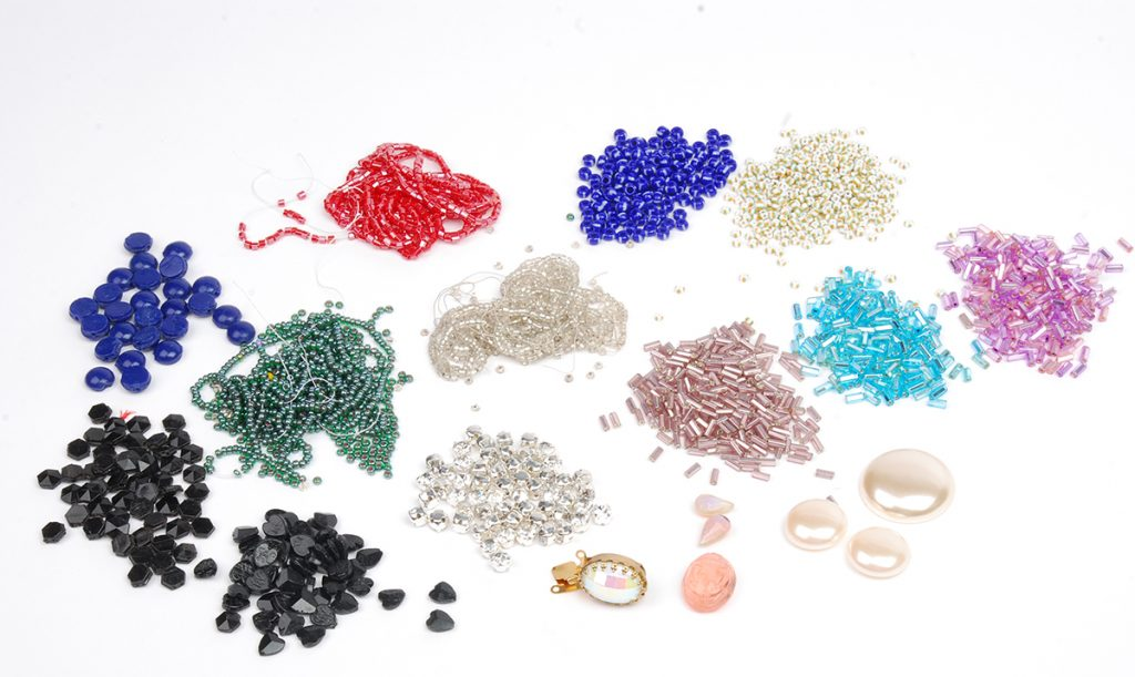 vintage beads, vintage jewelry making supplies, mixed media, bead embroidery, metal stampings, chain, CJS Sales