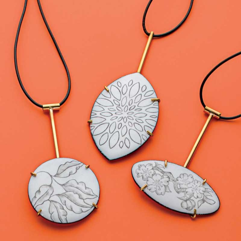 Graphic Graphite on Enamel by Jo Ann Wadler would make a perfect jewelry design for a Christmas ornament.