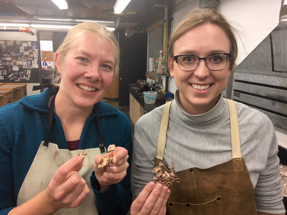 Hollie (left) and I hold up our favorite shapes from our water casting experience.