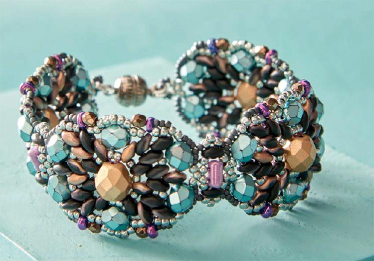 Beading pattern, Wildflower Bouquet Bracelet, by Deborah Hodoyer