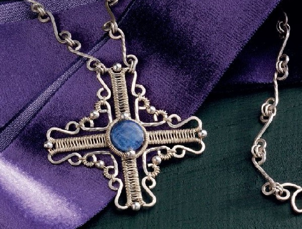 wire jewelry cross pendant by Jodi Bombardier
