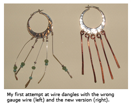 Flattened Wire Dangle Earrings