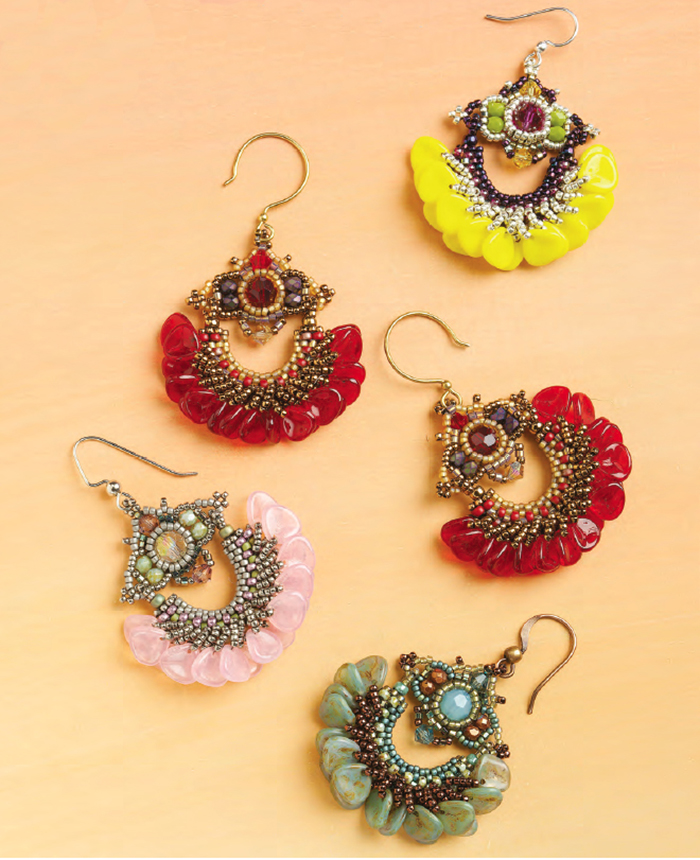 Yafa Petal Earrings by Penny Dixon. Shaped beads, Favorite Bead Stitches Beadwork issue