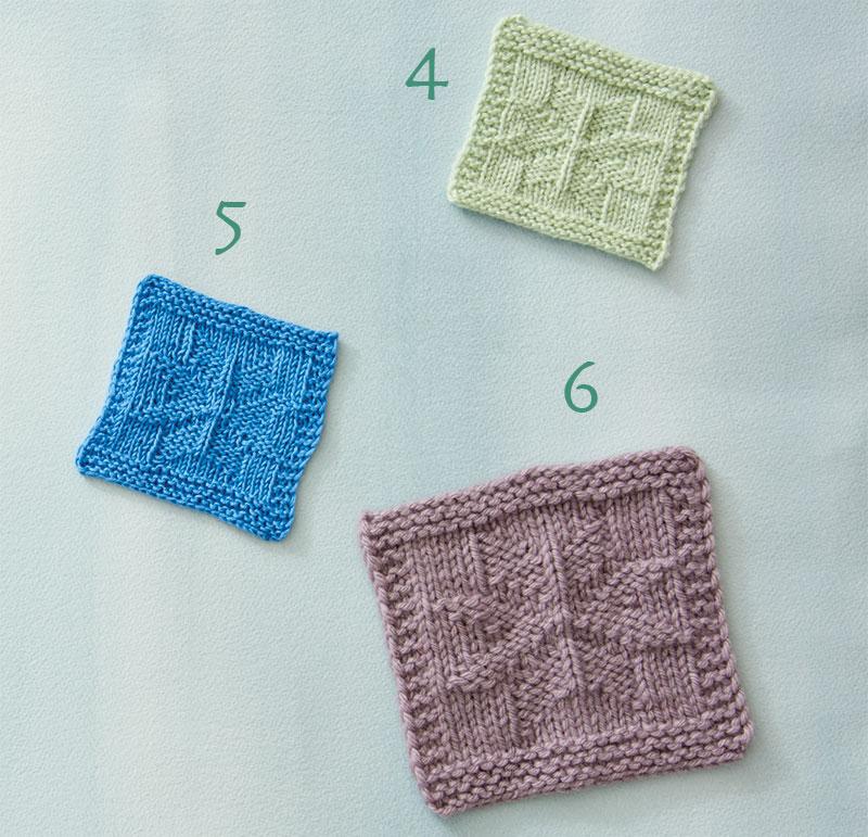 three knit squares