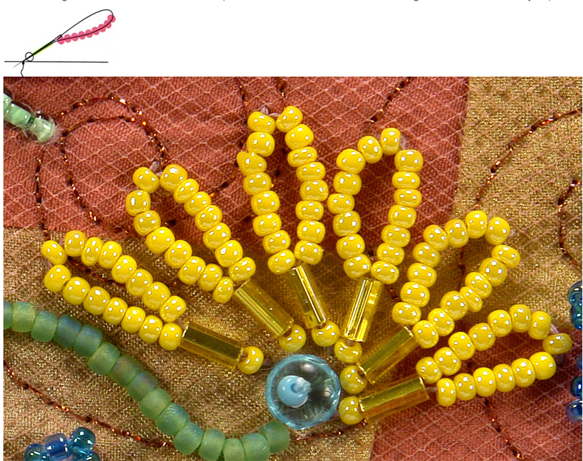 seed bead flower petals with bugle beads - seed bead botany