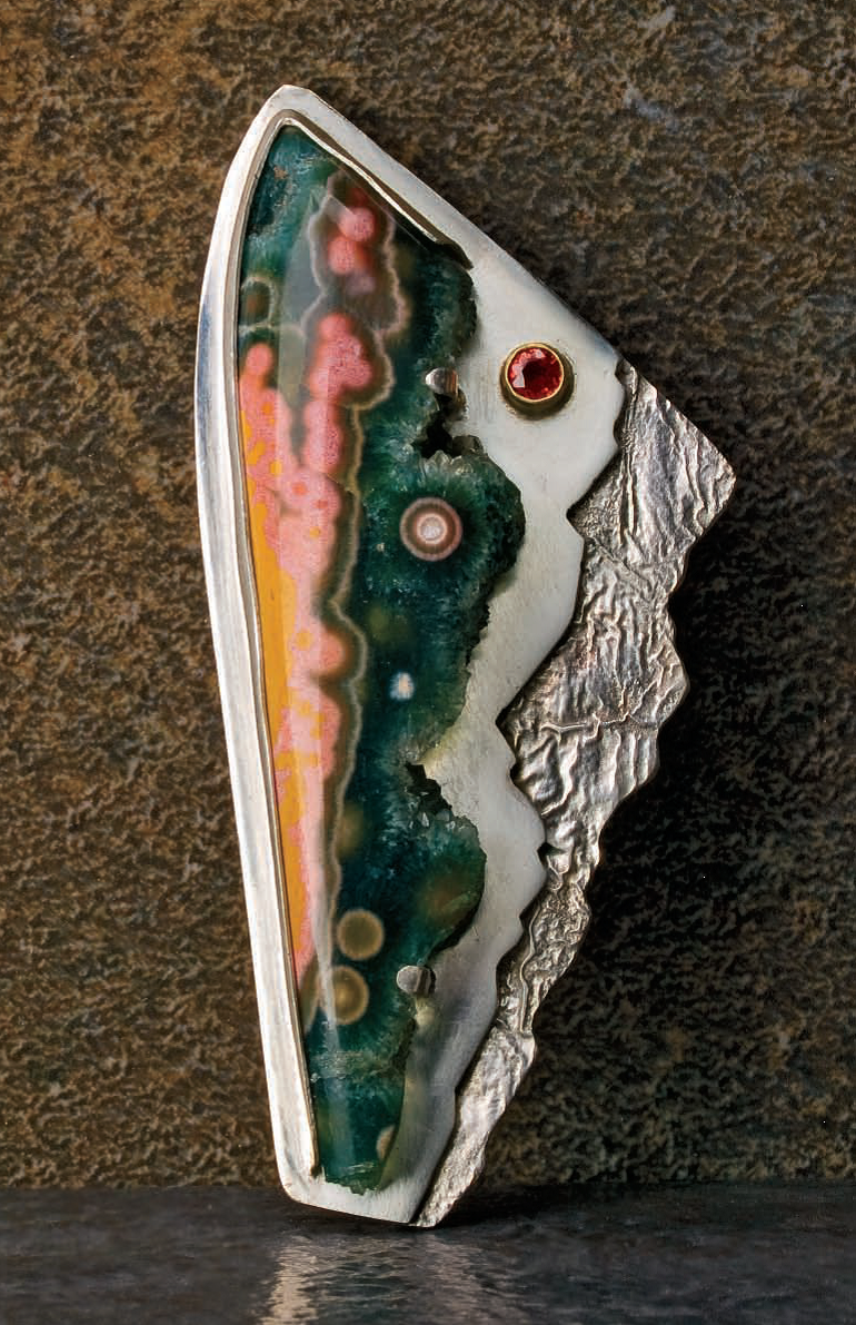 This ocean jasper pin by Noël Yovovich appears in Everyone's Guide to How to Solder Jewelry, a special publication of Lapidary Journal Jewelry Artist; photo: Jim Lawson